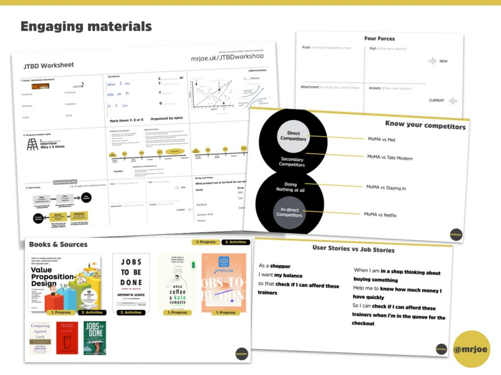 Jobs to be Done training workshop example materials